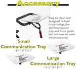Communication tray options on the Rifton adaptive tricycle.