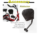 Abductor optional accessory to the Rifton adaptive tricycle for special needs children.