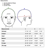 Danmar Hard Shell Helmet with Faceguard - Measurements