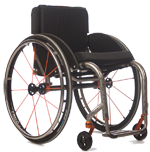 The 45-degree front angle view of TiLite ZR Titanium Wheelchair, with burnt orange accents.