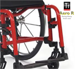 Swing-away legrests, an optional feature of the TiLite Aero R aluminum wheelchair.