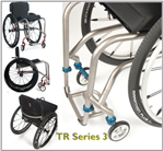From any angle, elegance abounds in TiLite TR Series 3 Titanium Wheelchair, the frame of which weighs just 3 pounds.