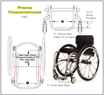 The TiLite TR Series 3 Titanium Wheelchair front-end taper is determined by  distance between front frame tube.