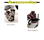 Close-up views of the ToniCross Tricycle foot plate and back support, optional accessories.