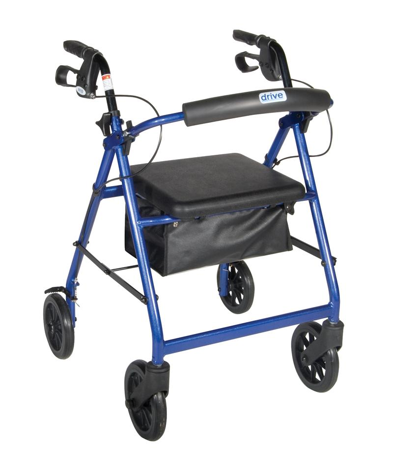 Blue Rollator Walker With Fold Up Removable Back Support