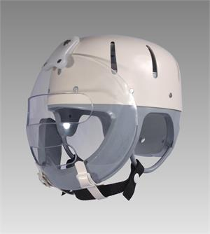 Danmar Hard Shell Helmet with Faceguard, clear face guard pivots to the top of the helmet , strong polyethylene shell, clear Lexan polycarbonate face guard.