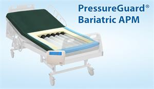 Presure Guard Bariatric APM therapy mattress supports up to  supports up to 750 pounds and designed to prevent skin breakdowns.