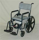 Activeaid shower and commode chair with 24 inch rear wheels for easy access to showers and toilet.