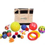 22 piece kit of sensory balls in many colors, textures and sizes for children and audits.
