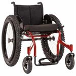 Top End Crossfire All Terrain Wheelchair by Invacare with red frame