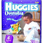 Huggies Baby-Shaped Overnite Diapers, All night protection zone with extra absorbency and triple leak barrier