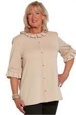 Kiki Knit top with ruffles at sleeve for assisted dressing