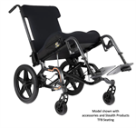 Enzo Pediatric Folding Wheelchair shown with accessories and TFB seating